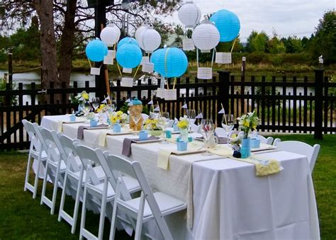 backyard baby shower yellow grey blue
