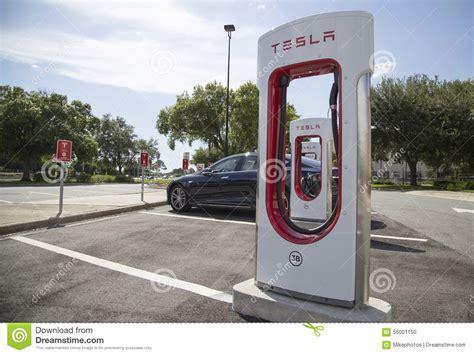 Tesla Charging Stations Florida Tesla Recharging Station On Florida Turnpike Stock Photo
