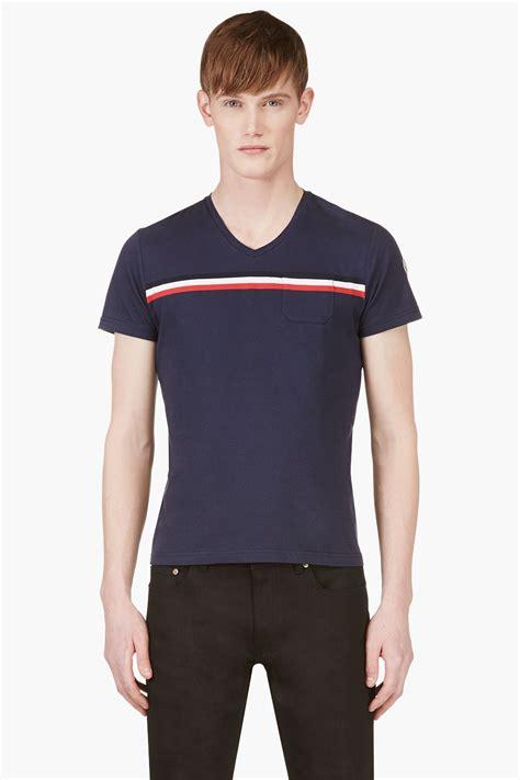 moncler navy blue chest stripe logo shirt