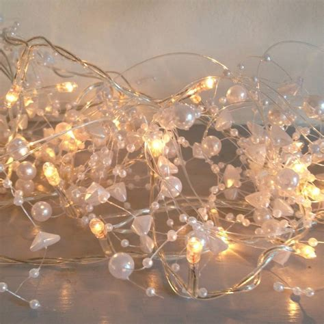 clear crystal led light garland pearl fairy lights garland by violette
