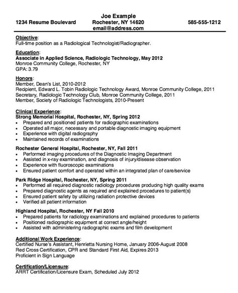Radiology Resume by Radiologic Technologist Resume Lifiermountain Org