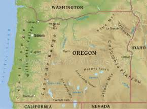 map of mountains in oregon physical map of oregon