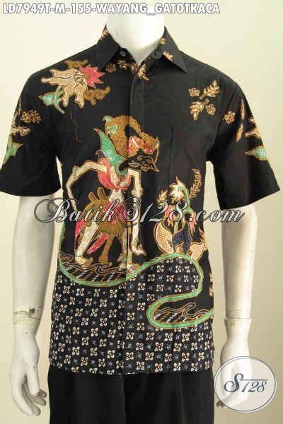 Jual Batik Semata Wayang jual batik kemeja lengan pendek motif wayang gatotkaca baju batik halus proses tulis bahan adem