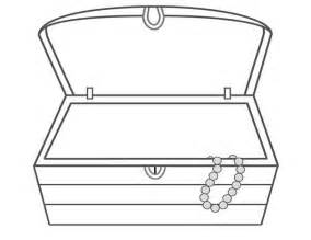 Chest an empty treasure chest and a single necklace coloring page