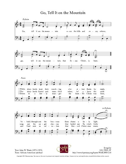 printable lyrics go tell it on the mountain go tell it on the mountain hymnary org