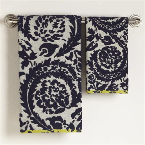 navy bath towels sofia navy ivory sculptured bath towel collection world market