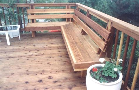 built in bench on deck deck in built bench
