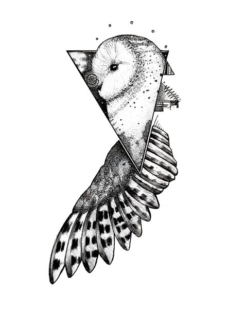 pen and ink tattoo geometric owl blackwork pen and ink on bristol