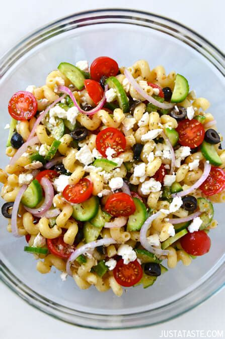 greek pasta salad just a taste greek pasta salad with red wine vinaigrette