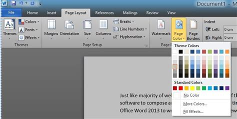 Change Page Color In Word how to change page background color in word 2016 2013