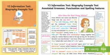 language features of a biography ks2 y3 information texts biography model exle text exle