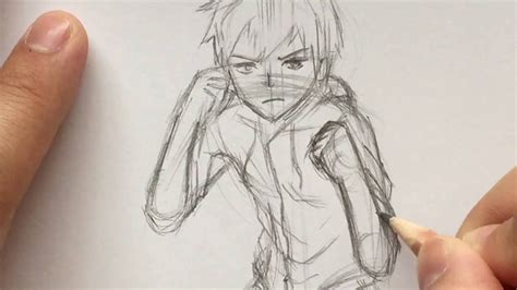 anime fight photo boy sword drawing pencil and in color boy