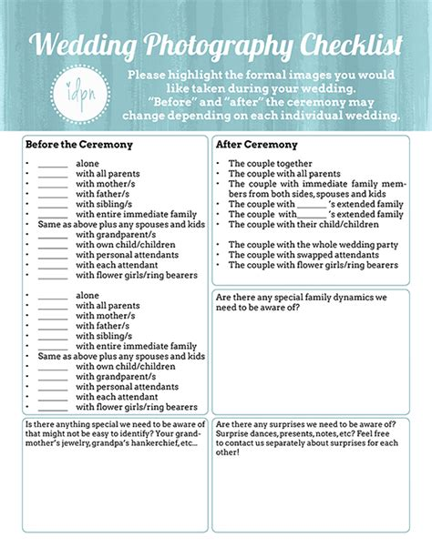 Wedding Photography Checklist by Custom Wedding Photography Checklist Photographer Fort
