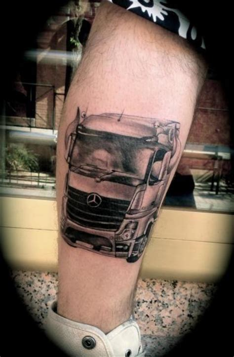 silver needle tattoo realistic calf truck by silver needle