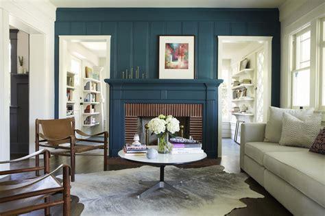 blue rustic fireplace