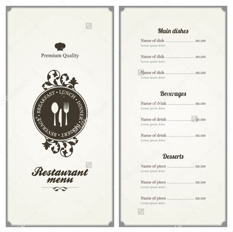 menu card templates 45 menu card templates free sle exle format