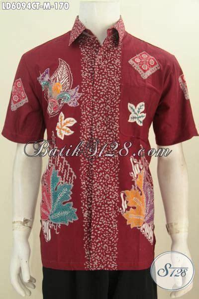 Baju Murah Hem Batik Hb 170 baju batik hem warna merah bahan halus motif terbaru yang