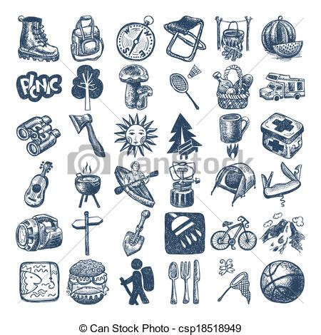 doodle draw icon pack eps vector of sketch doodle icon collection picnic