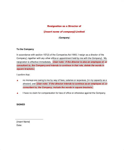 simple resignation letter templates ms