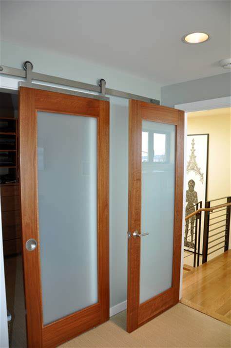 bedroom doors with frosted glass barn door contemporary bedroom seattle by ventana