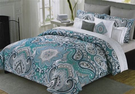 cynthia rowley queen paisley floral teal navy blue gray