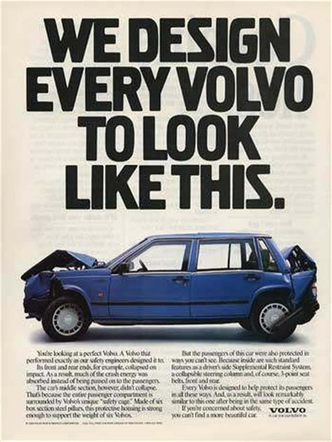 volvo advertisement volvo hell bent on safety if u get the pun auto ads