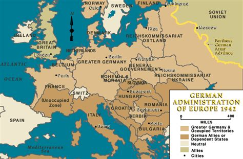 map of europe 1942 german administration of europe 1942