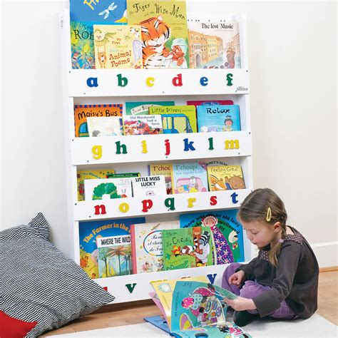 child s front facing bookcase by alphabet baby child