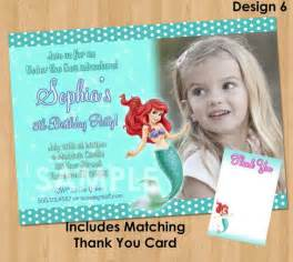 ariel the little mermaid invitation amp thank you note