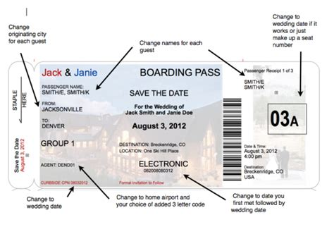 save the date boarding pass template boarding pass save the date a more realistic