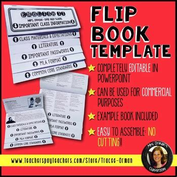 Editable Flip Book Template For Interactive Notebook Commercial Use Allowed Flip Book Templates For Teachers