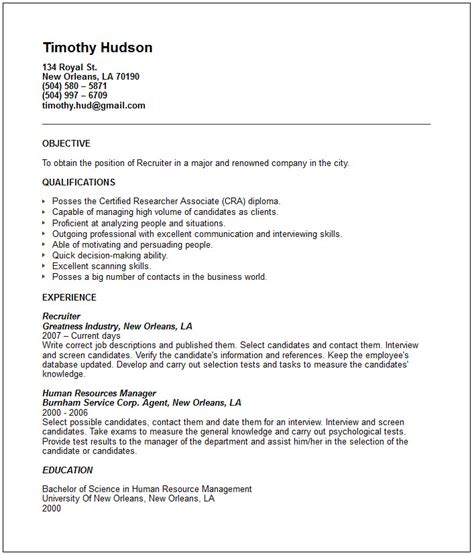 recruiter resume template relations and human resources resume exles