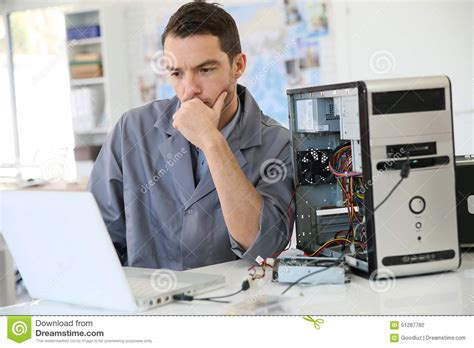 Hardware Technician by Technician Fixing The Computer Stock Photo Image 51287782