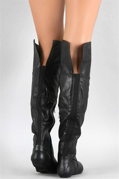 bamboo black leather boots from atlanta by couture