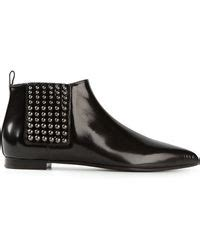 D Island Shoes Low Boots 285 givenchy chelsea studded brushed leather boots in black