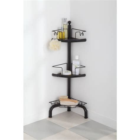 home zone  tier adjustable corner shower caddy oil