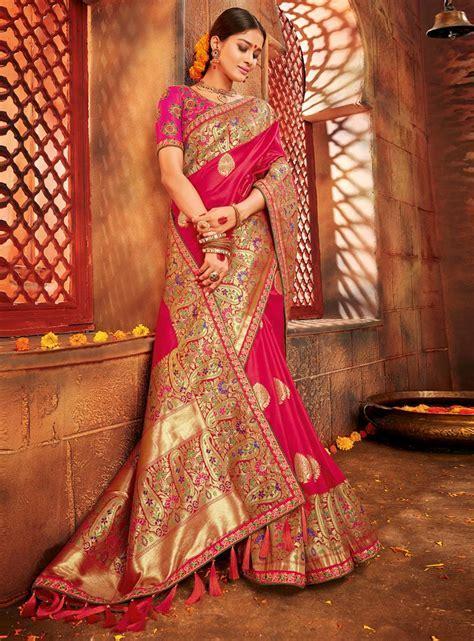 Magenta Banarasi Silk Wedding Saree 118218