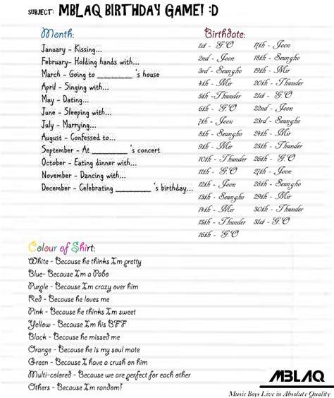 bts birthdays list mblaq birthday game by bubblepop99 on deviantart
