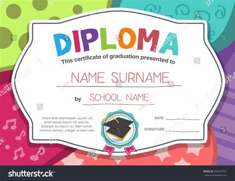 Kindergarten Preschool Elementary School Kids Diploma Stock Vector 325470791 Shutterstock Children S Product Certificate Template