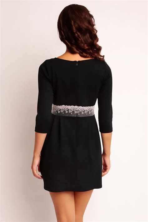 black back zipper dress with lace waist belt