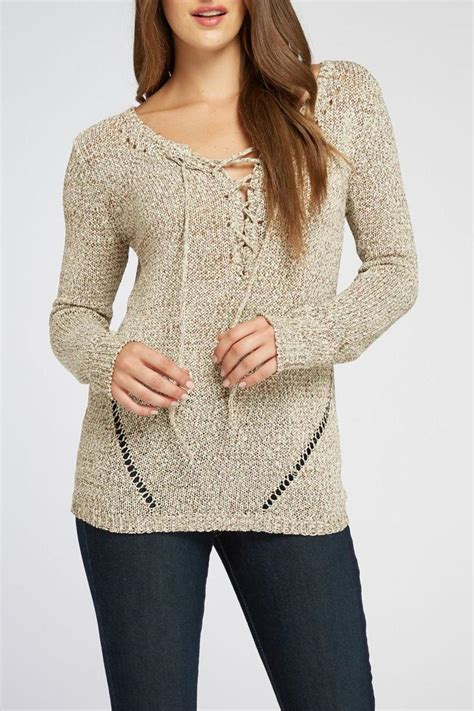 Ribbon Neck Sweater the dressing room ribbon yarn sweater from california