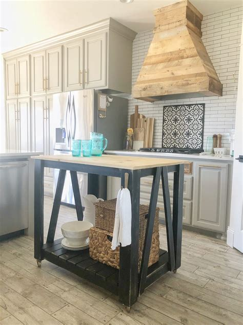 diy modern farmhouse kitchen island cart diy projects