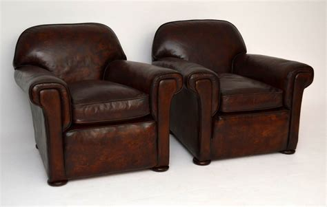 leather club armchairs large pair of antique english leather club armchairs marylebone antiques sellers