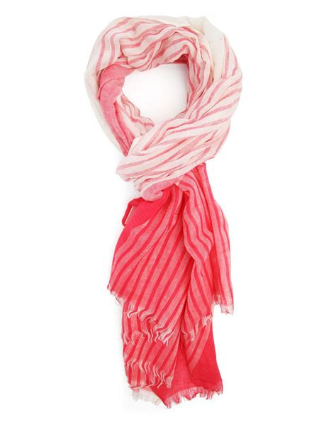 menlook label and white striped scarf for lyst