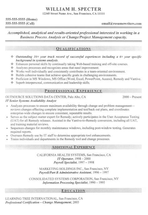 Resume Objective Exles System Analyst Systems Analyist Resume Sle It Resume Exles