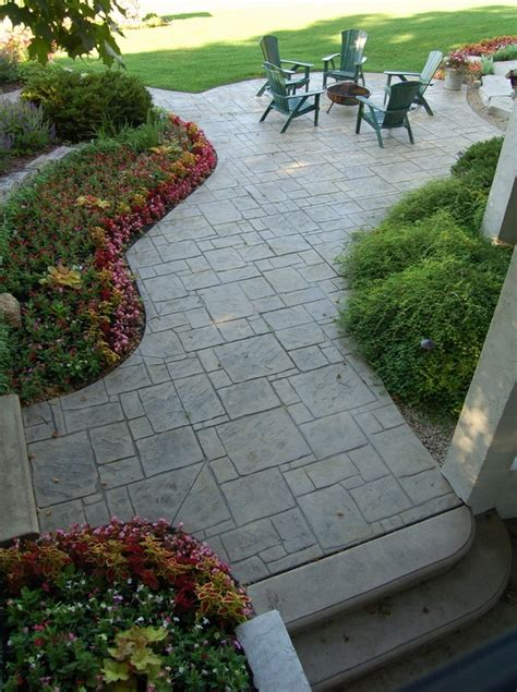 backyard flooring landscaping sted concrete adds depth and beauty to the exterior