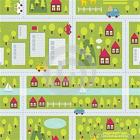 cartoon map pattern  small town stock images image