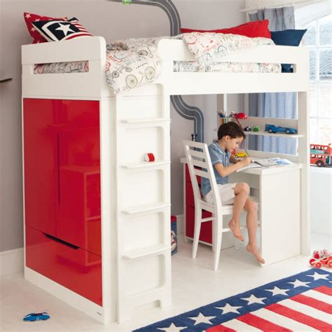 Boy Bunk Beds With Desk Lively Colorful Boys Room Space Saving Bunk Bed Designs