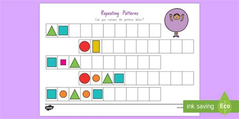 shape pattern twinkl repeating pattern shapes and colours worksheet activity