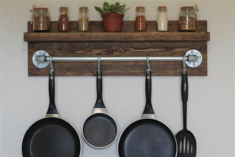 kitchen dining rustic wooden wall mount stell pot rack